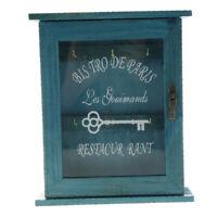 Wall Mounted Wooden Key Holder Cabinet Key Storage Box 6-Hook Type Blue