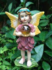 Miniature Dollhouse Fairy Garden ~ Mini Flower Fairy Girl w Gazing Ball on Pick