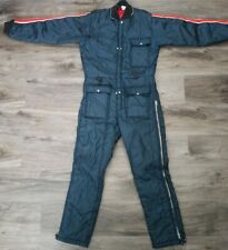 Vintage Snowmobile Snow Ski Winter Warm Suit Youth Size Large Blue Stripe Red