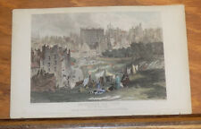 1841 Antique COLOR Print///EDINBURG OLD TOWN, FROM PRINCES STREET, SCOTLAND