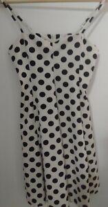 SES Womans Dress Size 8 Black & White Polka Dot Spaghetti Adjustable Straps