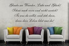 Wandtattoo 60cm Glaube an Wunder Liebe Glück Spruch Zitat Aufkleber Wandbild