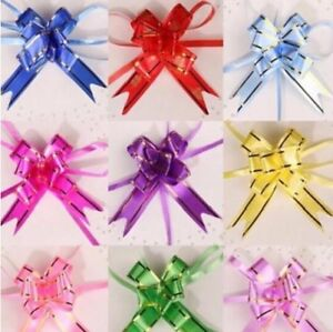 10 x Small Pull Bows 1.2cm x 21cm 15 Colours to Choose Floral Hearts Ribbon Bow