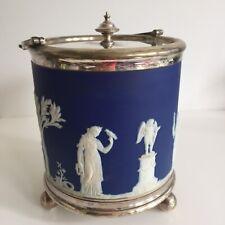 Seau à Biscuit WEDGWOOD Jasperware Portland blue Décor Antique Diane XIXe