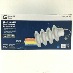 "Commercial Electric 4"" LED 65W Color Changing Recessed Trim Light"