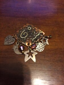 Far fetched sterling copper brooch w/ celestial space themed charms