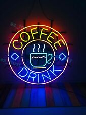 "New Coffee Cafe Drink Neon Light Sign 24""x20"" Lamp Poster Real Glass Beer Bar"