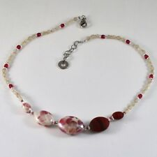 Necklace Antique Murrina Venice with Murano Glass Red & White Co925a11