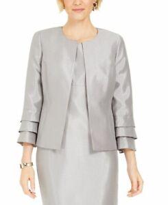 NEW Women's Kasper Shinny Ruffled-cuff Jacket Open Blazer Silver - Choose Size