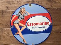 Vintage Esso Marine Gas And Oil Porcelain Sign 12""