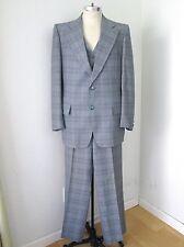GROOVY Vegas Baby Vtg 70s Blue Plaid Disco Pimp 3-Pc Vest Blazer Pants Suit 42