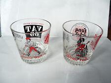 2pc glasses Johnnie Walker Vat 69 Kintore Queen Anne Haig White Label Ballantine