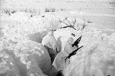 WWII Photo Soviet infantry hiding in a trench in a snow World War Two / 177