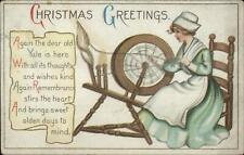 Christmas - Crafts Woman Spinning Wheel c1910 Embossed Postcard