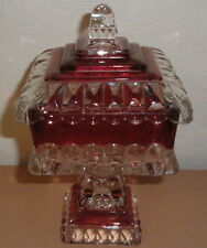 VINTAGE Westmoreland Ruby Flashed Brides Bowl Red Square Pedestal Crystal Dish