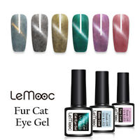 LEMOOC 8ml Fur Cat Eye Soak Off UV Gel Polish Winter Purple Nail Art Varnish
