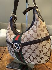 Vintage Brown Monogram GUCCI Interlocking G Green Red Web Shoulder Hand Bag Hobo