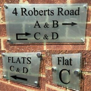 MODERN FLATS AND BUILDING DIRECTIONAL SIGN PLAQUES GLASS ACRYLIC ARROW SIGNS