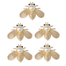 5x Alloy Pearl Bee Shape Flatback Buttons for Jewelry Making DIY Crafts 40mm