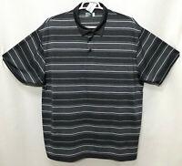 Mens Ben Hogan 3XL Gray Striped Polyester Short Sleeve Polo Rugby Golf Shirt
