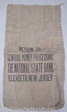 Old 'The National State Bank - Elizabeth New Jersey' Canvas Money Cash Bag