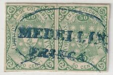 COLOMBIA - CLASSIC - 50c PAIR W/ OVAL MEDELLIN FRANCA CANCEL - Sc 48 - 1866 RRR