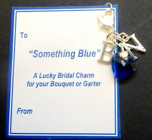 Good Luck Something Blue Heart & Initials Charm for Bouquet/Garter on Card