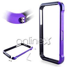 Carcasa Bumper Aluminio Vapor 4 para iPhone 4 / 4S Lila y Negro en Caja a553