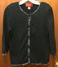 Woman SHANGHAI TANG Black Gray Knot Button Up L/s Cardigan Sweater Sz Medium Euc