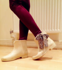 Beautiful Cream Rain Boot with Leopard Bow Belt Lovely Size UK 4 EU 37