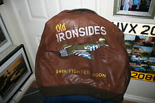 OLD IRONSIDES A2 LEATHER JACKET 84th FS 78th FG DUXFORD 1944 P47D THUNDERBOLT