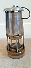 ANTIQUE MINER'S SAFETY LAMP - BRASS AND STEEL