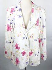 Chadwicks NWOT Size 14 White Floral Print Blazer Jacket Work Linen Blend