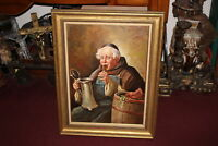 Vintage Oil Painting Religious Friar Monk Drinking Stein Wine Barrel Signed