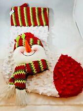 Ganz 3D Knit Snowman on Yarn Texture Knit Xmas Stocking NWT