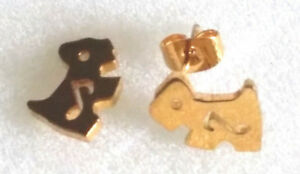 Ladies Girls Stainless steel Gold plated Dog Puppy Stud Earring Gift Gidaymates