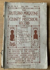 RUTLAND MAGAZINE And COUNTY HISTORICAL RECORD JULY 1910 Journal Cottesmore