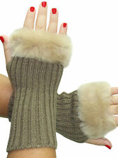 KHAKI KNIT ARM WARMER GLOVES WITH FUR TRIM