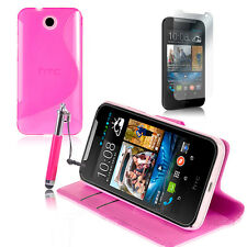 PINK Wallet 4in1 Accessory Bundle Kit Case Cover For HTC Desire 310