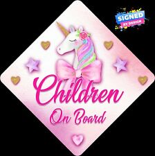 Non Personalised Child / Baby On Board Car Sign~Unicorn Pink & Gold ~ Children