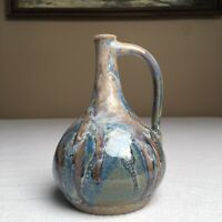 "Stoneware Pitcher Handmade Signed 6"" Tall Blue Drip Glazed Artist SMC"