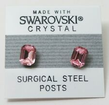 Pink Emerald Rectangle Stud Earrings 8mm Crystal  Made with Swarovski Elements