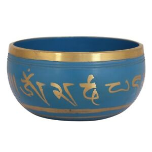 Indian Traditional Printed Steel Singing Bowl For Kitchen Use In Blue Color