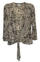 Chico's Travelers size 1 open cardigan 3/4 sleeve tie front animal print brown