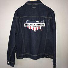 Vtg Ralph Lauren Polo Jeans Co Denim Jean Jacket Men's Sz L USA Map Flag Logo