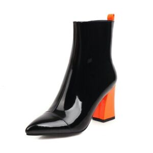 Ladies Zip Up Ankle Boots Biker Shoes Pointed Toe Shoes Patent Leather High Heel