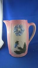 ancien pichet en barbotine decor fleur pensee epoque XIXe