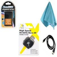 BLH-1 Battery + USB Cable + Card Reader + Lens Cloth for Olympus E-M1 Mark II