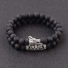 8mm Dragon Head Lava Howlite Chakra Stone Bead Prayer Mala Diffuser Bracelets