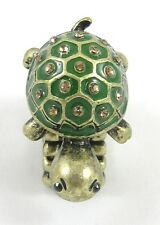 Super Cute New Antiqued Bronze Colored Turtle Stretch Ring with Crystals #R1161